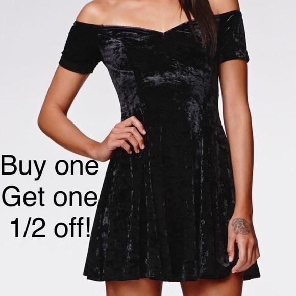 76afa483b261 Kendall & Kylie Dresses & Skirts - Black velvet off shoulder cocktail skater  dress